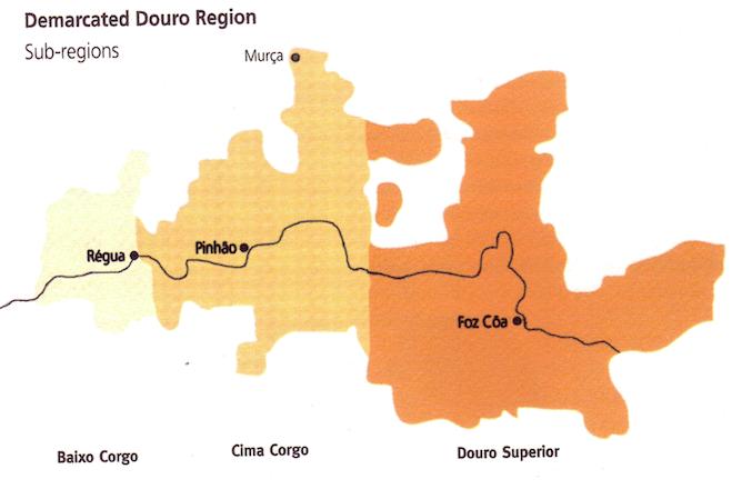 mapa regioes douro portugal