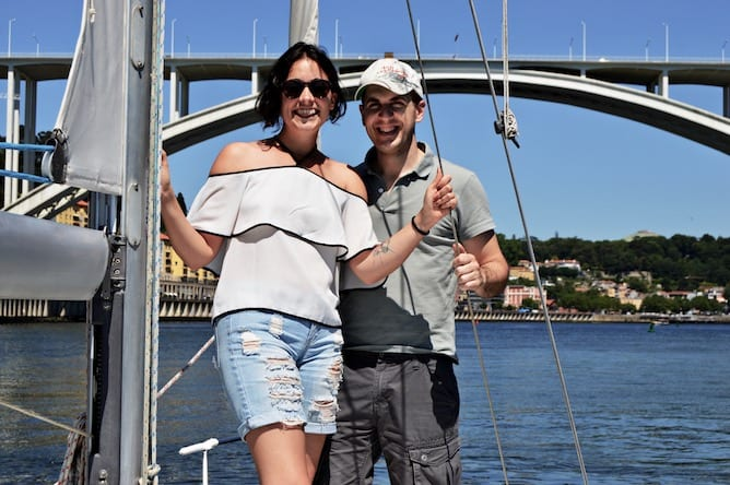 couple romantic proposal porto sailing boat