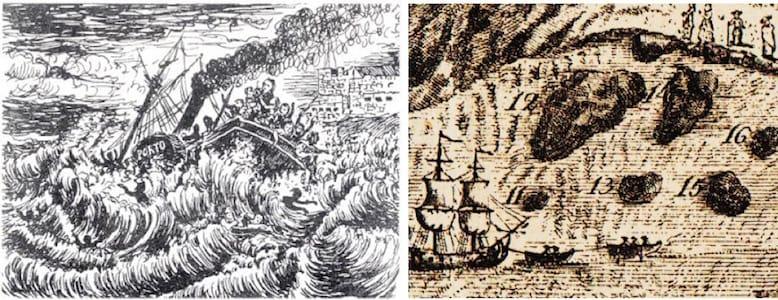 Nestas imagens, de autoria desconhecida, pode ver-se o vapor