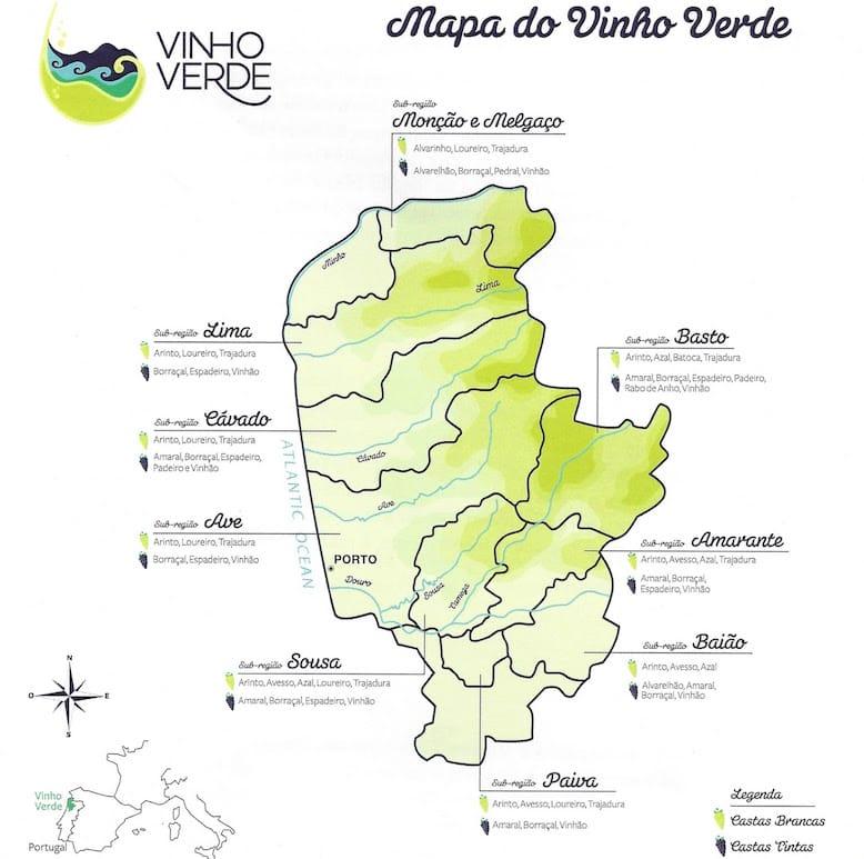 mapa regiao vinho verde