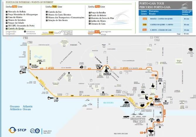 porto gaia route porto bus