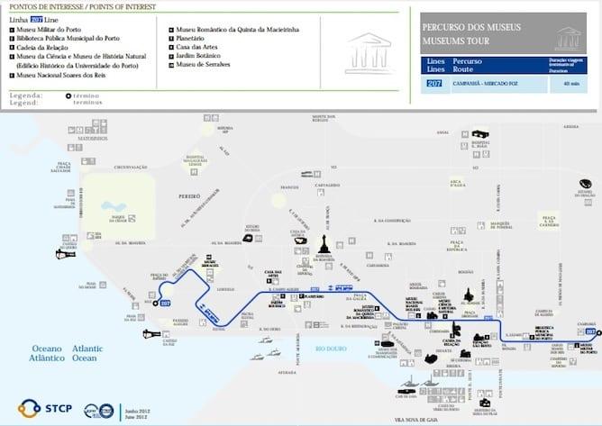 rota autocarros porto museus principais cidade