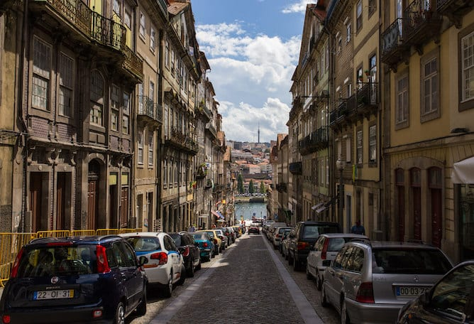 rua sao joao popular street porto heading douro river