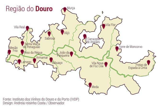 mapa regiao douro