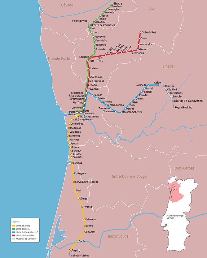 mapa comboios urbanos porto