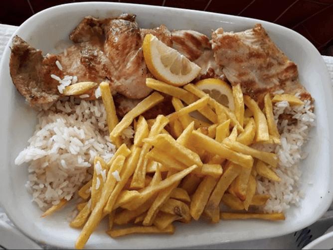 grilled pork loin with fries caseirinho cheap restaurant porto