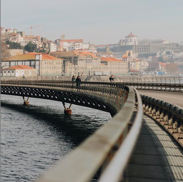 view from cais das pedras viaduct porto