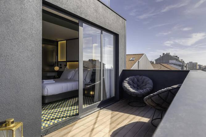 quarto duplo com terraco metier hoteis romanticos porto