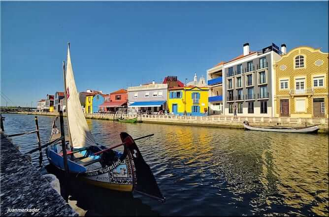 aveiro moliceiro boat canal colorful houses