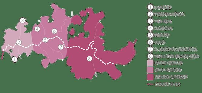 mapa principais cidades douro