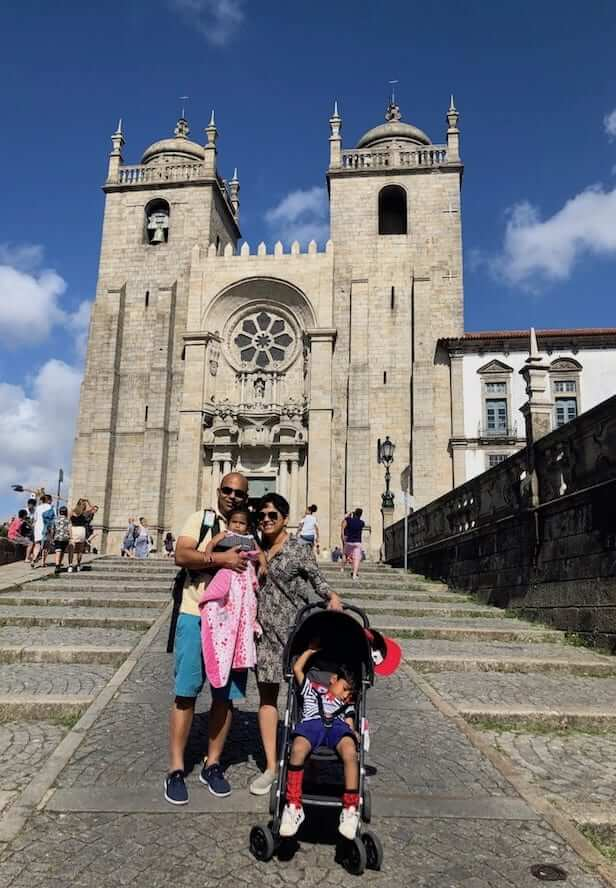 private tours portugal family in front porto cathedral
