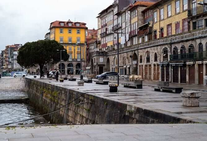 empty streets ribeira neighborhood porto