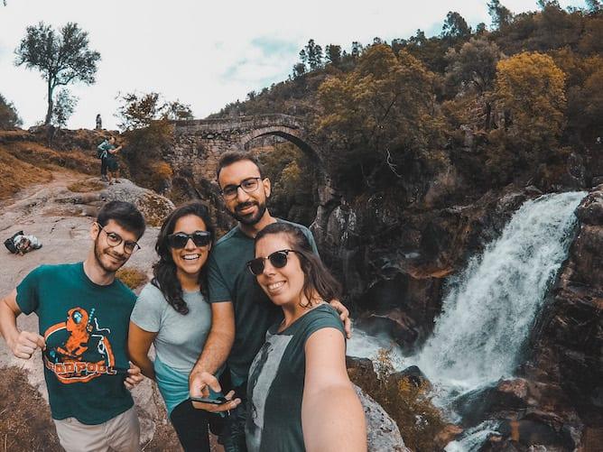 group friends hiking misarela trail portugal